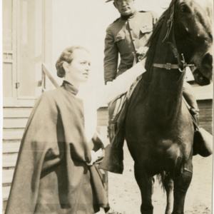 Camp MacArthur - Waco, Texas - World War I - A nurse, an officer and a horse