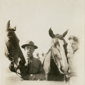 Camp MacArthur - Waco, Texas - World War I - a lieutenant and a nurse with two horses