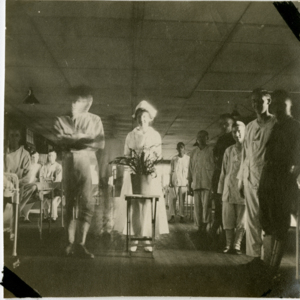 Camp MacArthur - Waco, Texas - World War I - A nurse, soldiers and patients in a hospital ward