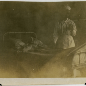 Camp MacArthur - Waco, Texas - World War I - A nurse and a patient in the hospital ward