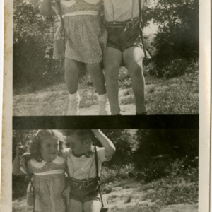 Patrick E. Bowe Nursery School - Students from 1935 - 1938 - A girl and a boy share a swing