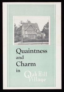 Quaintness and charm in Oak Hill Village, Oak Hill Company, 163 Country Club Road, Oak Hill Village, Newton Centre, Mass.