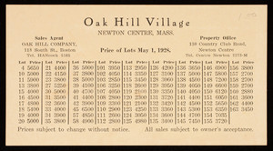 Price list, Oak Hill Village, Oak Hill Company, property office, 130 Country Club Road, Newton Centre, Mass.