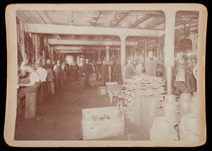 United Show Machinery interior with employees, Beverly, Mass., c. 1900