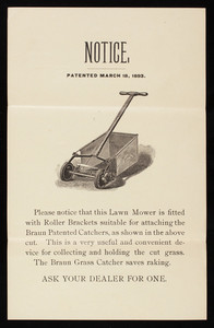 Notice, Braun Grass Catcher, John Braun & Sons, Philadelphia, Pennsylvania