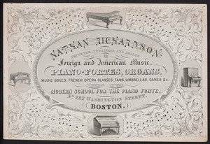 Trade card for Nathan Richardson, importer, publisher and dealer in foreign and American music, No. 282 Washington Street, Boston, Mass., undated