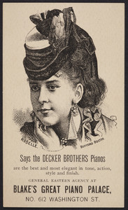Trade card for Blake's Great Piano Palace, No. 612 Washington Street, Boston, Mass., undated