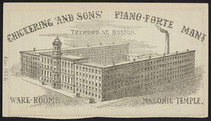 Advertisement for Chickering and Sons' Piano-Forte Manufactory, Tremont Street, Boston, Mass., 1856