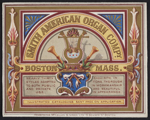 Trade card for the Smith American Organ Company, 531 Tremont Street, Boston, Mass., undated