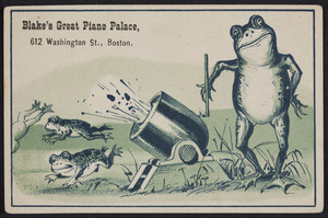 Trade card for Blake's Great Piano Palace, 612 Washington Street, Boston, Mass., undated