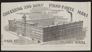 Advertisement for Chickering and Sons' Piano-Forte Manufactory, Tremont Street, Boston, Mass., 1854
