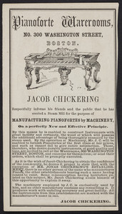 Advertisement for the Jacob Chickering Pinaoforte Warerooms, No. 300 Washington Street, Boston, Mass., 1854
