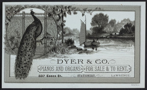 Trade cards for Dyer & Co., pianos and organs for sale & to rent, 337 Essex Street, Lawrence, Mass., undated