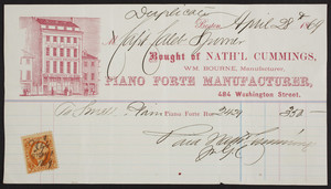 Billhead for Nath'l Cummings, William Bourne, piano forte manufacturer, 484 Washington Street, Boston, Mass., dated April 28, 1869