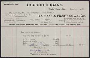 Billhead for Hook & Hastings Co., Dr., church organs, Kendal Green, Mass., dated November 14, 1919