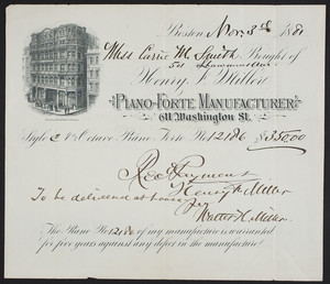 Billhead for Henry F. Miller, piano-forte manufacturer, 611 Washington Street, Boston, Mass., dated November 3, 1881