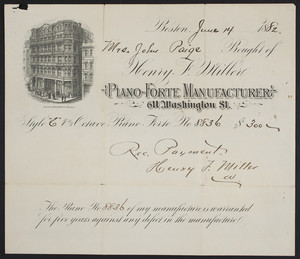 Billhead for Henry F. Miller, piano-forte manufacturer, 611 Washington Street, Boston, Mass., dated June 14, 1882