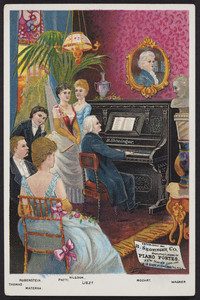 Trade card for the B. Shoninger Co., manufacturers of piano fortes, 511 & 513 Chapel Street, New Haven, Connecticut and 215 State Street, Chicago, Illinois, undated