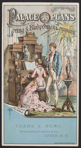 Trade card for Palace Organs, manufactured by the Loring & Blake Organ Company, Worcester, Mass. and Toledo, Ohio, undated