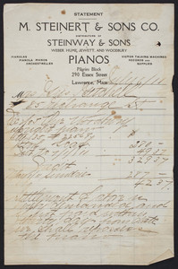 Billhead for M. Steinert & Sons Co., distributers of Steinway & Sons Pianos, Pilgrim Block, 290 Essex Street, Lawrence, Mass., dated July 6, 1911
