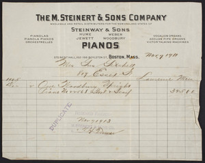 Billhead for The M. Steinert & Sons Company, pianos, Steinert Hall, 162-168 Boylston Street, Boston, Mass., dated November 7, 1911