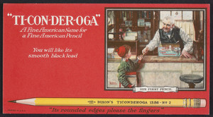 Trade card for Dixon's Ticonderoga Pencil, Joseph Dixon Crucible Company, Jersey City, New Jersey, 1926