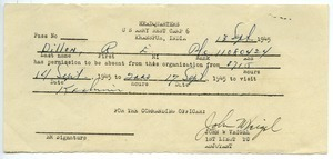 Army pass for Robert E. Dillon