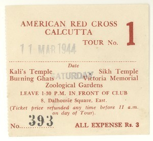 American Red Cross Calcutta tour ticket