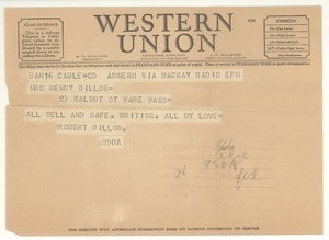Telegram from Robert E. Dillon to Mary Dillon