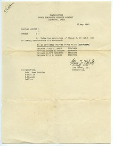 558th Composite Service Company order no. 1