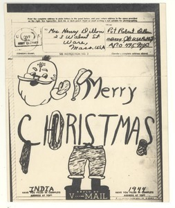 Christmas card from Robert E. Dillon to Mary Dillon