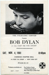 The Folklore Center presents Bob Dylan In his first New York concert