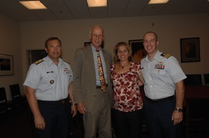 Congressman John W. Olver (2d from left) with Rear Adm. Gary Blore (left), and Commander Mark Fedor (right), US Coast Guard, Special Detailee to House Appropriations Committee