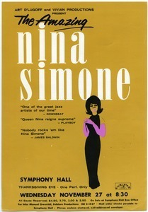 The amazing Nina Simone... Symphony Hall, Wednesday November 27 at 8:30 p.m.