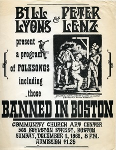 Bill Lyons & Peter Lenz present a program of folksongs including those Banned in Boston