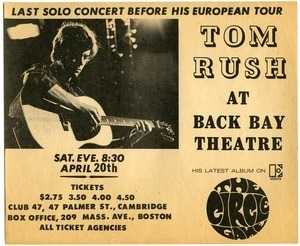 Tom Rush at Back Bay Theatre, Sat. eve. 8:30, April 20th
