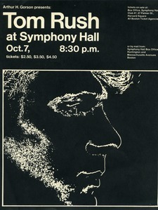Tom Rush at Symphony Hall, Oct. 7, 8:30 p.m.