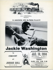 M. A. Greenhill presents in association with the Boston N.A.A.C.P.: Jackie Washington