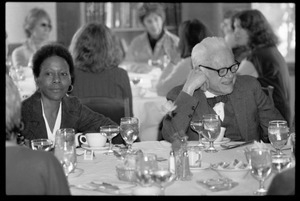 Esther Terry seated for lunch at Frances Crowe's party