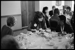 Meline Kasparian, Lisa Bskin, and Esther Terry (l. to r.) seated for lunch at Frances Crowe's party