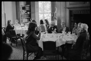 Attendees seated for lunch at Frances Crowe's party