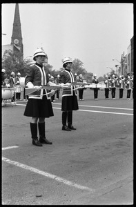 Women drill team members and drum line, corner of Main Street and Crafts Ave.