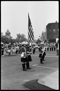 All-woman color guard with drill team and drum line, corner of Main Street and Crafts Ave.