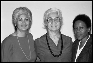 Meline Kasparian (President, Mass. Teachers Association), Arev Kasparian (her mother), and Esther Terry at Frances Crowe's party