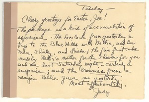 Postcard from Judy G. Wood Langland to Joseph Langland