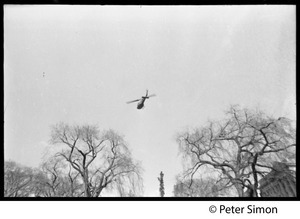 Helicopter flying over the demonstration: Vietnam Moratorium march on Washington