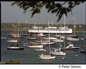 M/V Islander ferry from Woods Hole with moored boats in the harbor at Vineyard Haven, Marthas Vineyard
