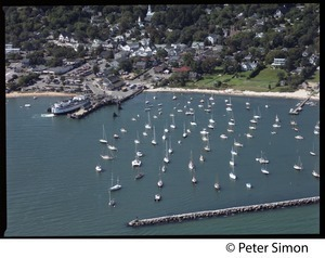 Aerial view of the harbor at Vineyard Haven, Marthas Vineyard, with the M/V Islander in the dock