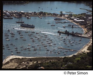 Aerial view of the harbor at Vineyard Haven, Marthas Vineyard, with the M/V Islander nearing the dock