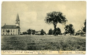 The Centre, Greenwich, Mass.: Congregational Church, Hotel, Dickinson's store: Postcard from Fanny Gould Thayer to Lillian S. F. Browne